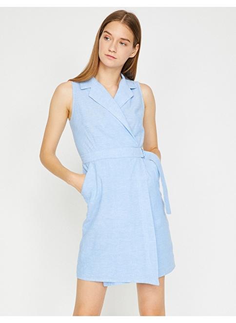 Koton Ceket Yaka Kolsuz Elbise Mavi